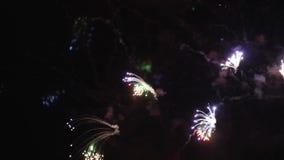 Fuegos artificiales, fondo de la celebración del día de fiesta con el sonido almacen de video