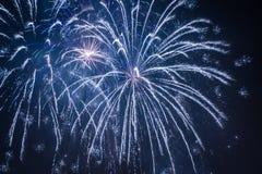 Fuegos artificiales grandes azules durante las celebraciones Imagen de archivo libre de regalías