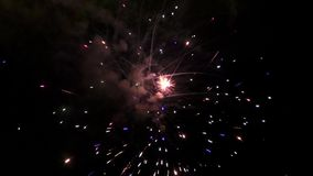 Fuegos artificiales grandes en el cielo del verano de la noche almacen de video