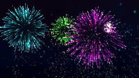 Fuegos artificiales hermosos del CG en el día de la celebración, lazo almacen de metraje de vídeo