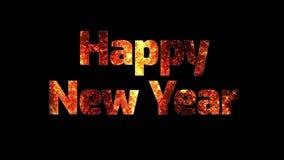 Fuegos artificiales hermosos del oro con la Feliz Año Nuevo del texto Composición para la celebración del Año Nuevo Fuegos artifi stock de ilustración