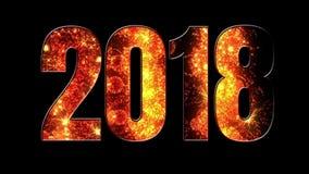 Fuegos artificiales hermosos del oro a través de la inscripción 2018 Composición por los nuevo 2018 años Fuegos artificiales bril stock de ilustración
