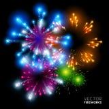 Fuegos artificiales hermosos del vector Imagenes de archivo