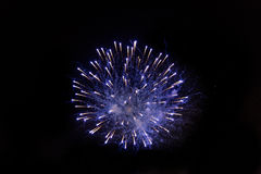 Fuegos artificiales hermosos en el cielo nocturno Fotografía de archivo libre de regalías