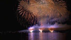 Fuegos artificiales hermosos en el cielo nocturno Foto de archivo libre de regalías