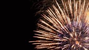Fuegos artificiales hermosos en el cielo nocturno Foto de archivo