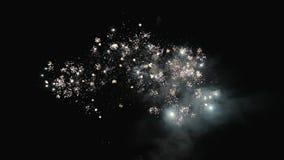 Fuegos artificiales hermosos en el cielo nocturno Saludo celebrador almacen de video