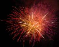 Fuegos artificiales hermosos en la noche Imagenes de archivo