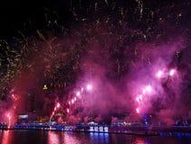 Fuegos artificiales a lo largo del río del amor en Taiwán Imagen de archivo libre de regalías