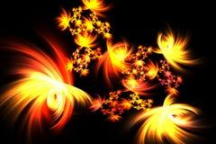 Fuegos artificiales mágicos brillantes del amarillo de la diversión del fractal abstracto Fotos de archivo