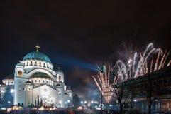 Fuegos artificiales ortodoxos del ` s del Año Nuevo Foto de archivo