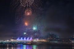 Fuegos artificiales para las celebraciones del Año Nuevo 2018 Imagen de archivo
