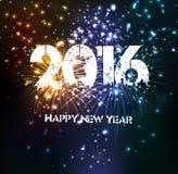Fuegos artificiales por la Feliz Año Nuevo 2016 Imagen de archivo