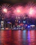 Fuegos artificiales que celebran el Año Nuevo chino en Hong Kong Imagenes de archivo