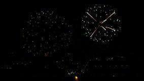 Fuegos artificiales que destellan en el cielo del día de fiesta de la noche metrajes