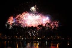 Fuegos artificiales que estallan detrás de las palmeras en el Ala Moana Fotografía de archivo