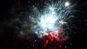 Fuegos artificiales que estallan en diversos colores en el cielo nocturno oscuro almacen de video