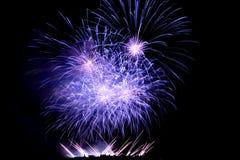 Fuegos artificiales que se encienden encima del cielo Fotografía de archivo libre de regalías