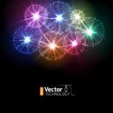 Fuegos artificiales realistas del vector Foto de archivo libre de regalías