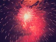 Fuegos artificiales retros de la mirada Foto de archivo libre de regalías