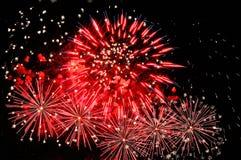Fuegos artificiales rojos asombrosos y dispersión de las chispas blancas Fotografía de archivo libre de regalías