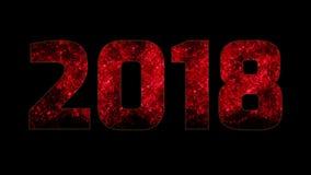 Fuegos artificiales rojos hermosos a través de la inscripción 2018 Composición por los nuevo 2018 años Fuegos artificiales brilla libre illustration