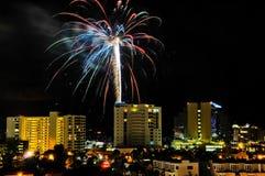 Fuegos artificiales Sarasota céntrico Imágenes de archivo libres de regalías