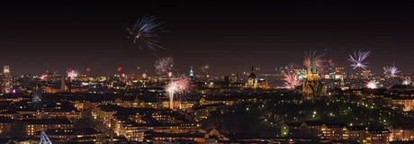 Fuegos artificiales sobre Estocolmo Imágenes de archivo libres de regalías