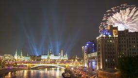 Fuegos artificiales sobre Moscú almacen de metraje de vídeo