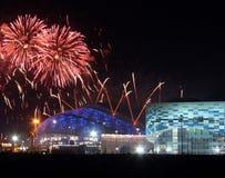 Fuegos artificiales sobre parque olímpico Imágenes de archivo libres de regalías