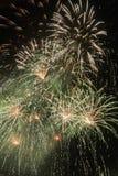 Fuegos artificiales verdes y blancos Foto de archivo libre de regalías