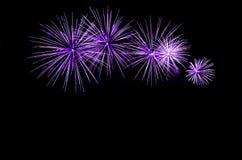 Fuegos artificiales violetas con el espacio de la copia Fotos de archivo libres de regalías