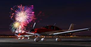 Fuegos artificiales y aeroplanos en Cedar City Foto de archivo libre de regalías