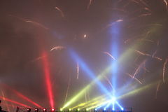 Fuegos artificiales y luces Imagenes de archivo