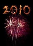 Fuegos artificiales y número 2010 del sparkler Foto de archivo libre de regalías