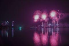 Fuegos artificiales y reflexión en el lago grande Imágenes de archivo libres de regalías
