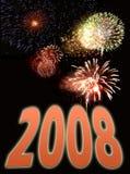 Fuegos artificiales y texto 2 del Año Nuevo Fotografía de archivo libre de regalías