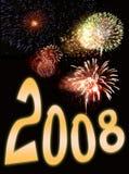 Fuegos artificiales y texto 3 del Año Nuevo Imágenes de archivo libres de regalías