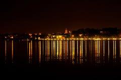 Fuegos de la ciudad de la noche, Kostroma Imágenes de archivo libres de regalías