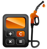 Fuel calc. Concepts illustration of fuel station pump as calculator Royalty Free Stock Photos
