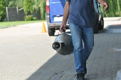 Fuel canister. At gas station royalty free stock photos