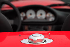 Fuel cap. Close up of a cabriolet car with a focus on the fuel cap Royalty Free Stock Photos