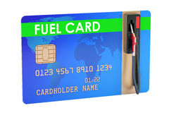Fuel card with gas pump nozzle, 3D rendering Royalty Free Stock Photos