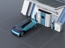Fuel Cell accion? el gas de relleno aut?nomo del coche en la estaci?n del hidr?geno de Fuel Cell foto de archivo
