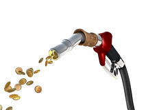 Fuel Cost. A fuel pump shoots fuel in the form of gold coins vector illustration