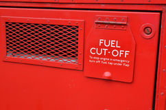 Fuel cut off sign on vehicle. Stock Photography