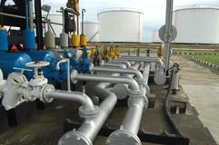 Fuel depot. Fuel distribution center with tanks and pipes Stock Image