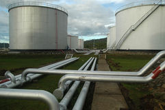 Fuel depot. Fuel distribution center with tanks and pipes Stock Photo