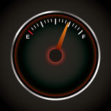 Fuel dial. With red neon and silver bevel Royalty Free Stock Photography
