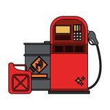 Fuel dispenser and can with oil barrel. Vector illustration graphic design vector illustration